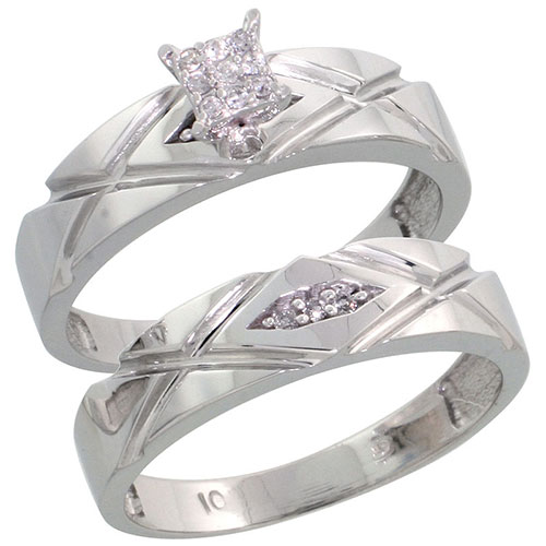 10k White Gold Diamond Engagement Ring Set 2-Piece 0.08 cttw Brilliant Cut, 3/16 inch 5mm wide #15419v3