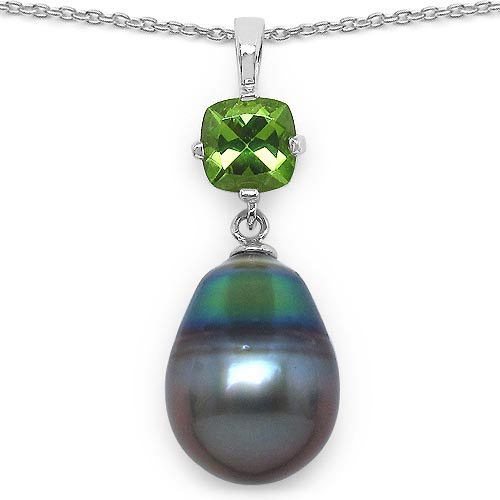 Pearl:Drop/14X10mm 1 + Peridot:Cushion/6mm 1/1.05 ctw #33606v3