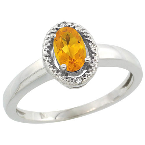 Sterling Silver Diamond Halo Natural Citrine Ring Oval 6x4 mm, sizes 5-10 #15462v3