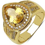 Citrine:Pear/10x7mm 1/1.60 ctw + Cubic Zircon White:Round/1.00mm 61/0.60 ctw #28384v3