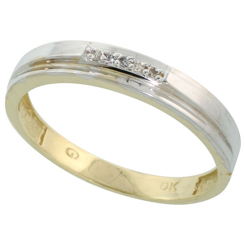 10k Yellow Gold Mens Diamond Wedding Band Ring 0.04 cttw Brilliant Cut, 1/4 inch 6mm wide #15441v3