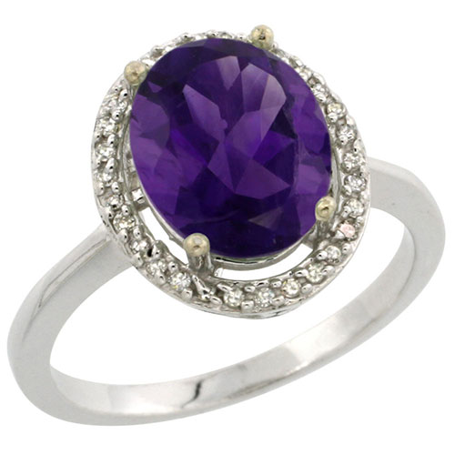 10K White Gold Diamond Natural Amethyst Ring Oval 10x8mm, sizes 5-10 #15550v3