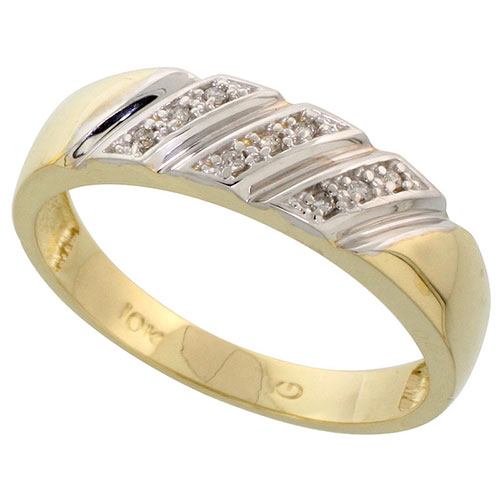 10k Yellow Gold Mens Diamond Wedding Band Ring 0.04 cttw Brilliant Cut, 3/16 inch 4.5mm wide #15448v3