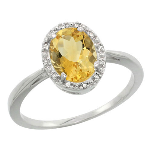 Sterling Silver Natural Citrine Diamond Halo Ring Oval 8x6 mm, sizes 5-10 #15459v3