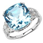Topaz Blue:Cushion/12.00mm 1/8.41 ctw + Diamond White:Round/1.00mm 4/0.02 ctw #28314v3