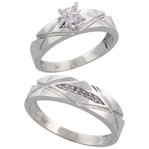 10k White Gold Diamond Engagement Rings Set for Men and Women 2-Piece 0.10 cttw Brilliant Cut, 5mm & 6mm wide #15420v3