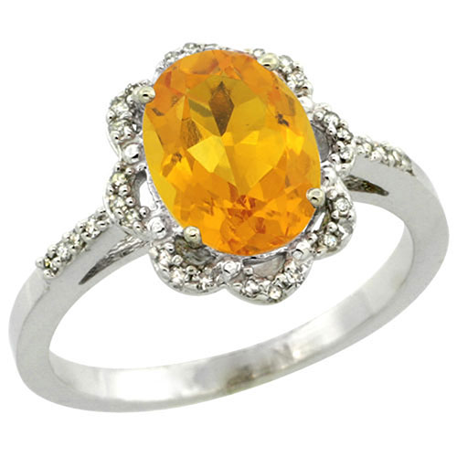 Sterling Silver Diamond Natural Citrine Ring Oval 9x7 mm, sizes 5-10 #15463v3