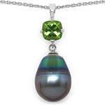 Pearl:Drop/14X10mm 1 + Peridot:Cushion/6mm 1/1.05 ctw #28224v3