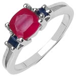 Ruby:Cushion/ 6.00mm 1 /1.65 ctw + Sapphire:Square/2.00mm 2 /0.12 ctw #28205v3