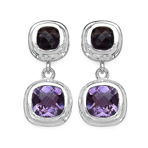 Amethyst:Cushion/8.00mm 2/4.60 ctw + Topaz Smoky:Cushion/6.00mm 2/2.10 ctw #33386v3