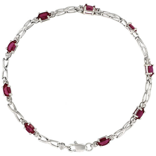 10k White Gold XOXO Hugs & Kisses Tennis Bracelet 0.05 ct Diamonds & 2.25 ct Oval Created Ruby, 1/8 inch wide #15409v3