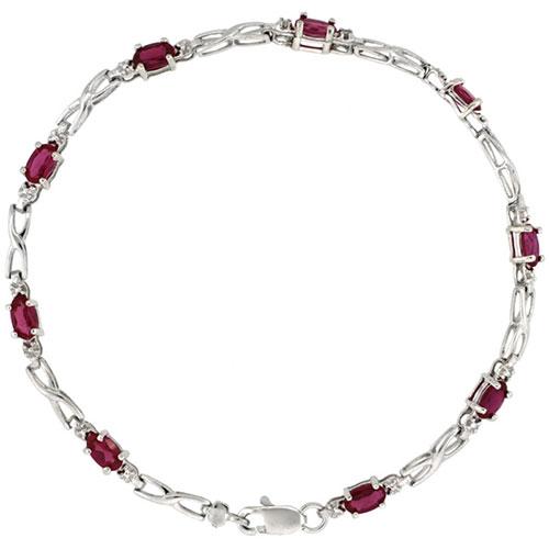 10k White Gold XOXO Hugs & Kisses Tennis Bracelet 0.05 ct Diamonds & 2.25 ct Oval Created Ruby, 1/8 inch wide #15409v3