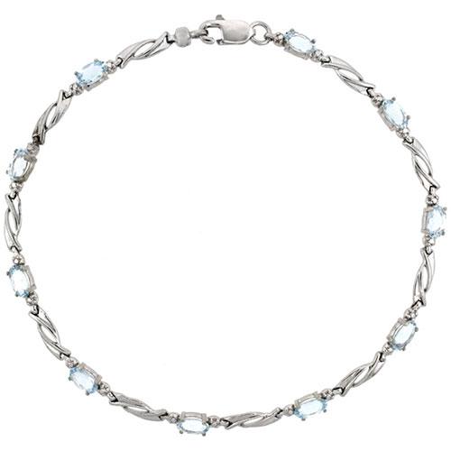 10k White Gold Swirl Tennis Bracelet 0.05 ct Diamonds & 2.50 ct Oval Aquamarine, 1/8 inch wide #15406v3