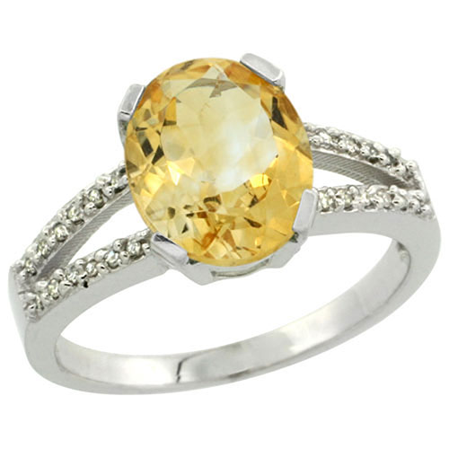 Sterling Silver Diamond Natural Citrine Ring Oval 10x8 mm, sizes 5-10 #15465v3