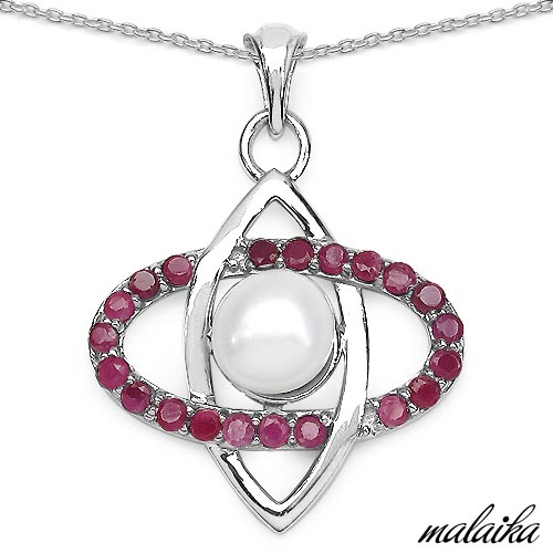 Pearl:Round 1/2.60 ctw + Ruby:Round/2.00mm 21/1.11 ctw #33611v3