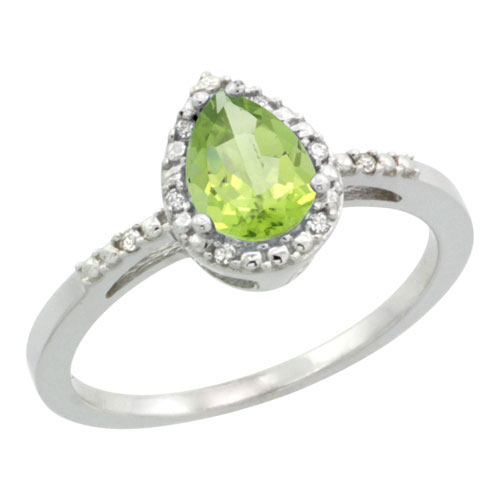 10K White Gold Diamond Natural Peridot Ring Pear 7x5mm, sizes 5-10 #15359v3