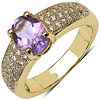 Amethyst:Oval/8x6mm 1/1.00 ctw + Cubic Zircon White:Round/1.00mm 48/0.45 ctw #28386v3