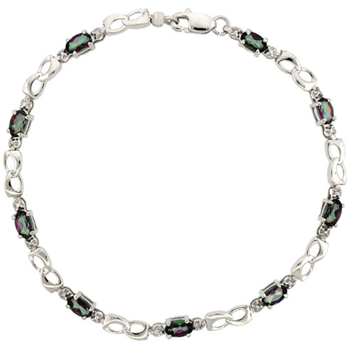 10k White Gold Double Loop Tennis Bracelet 0.05 ct Diamonds & 2.25 ct Oval Mystic Topaz, 1/8 inch wide #15401v3