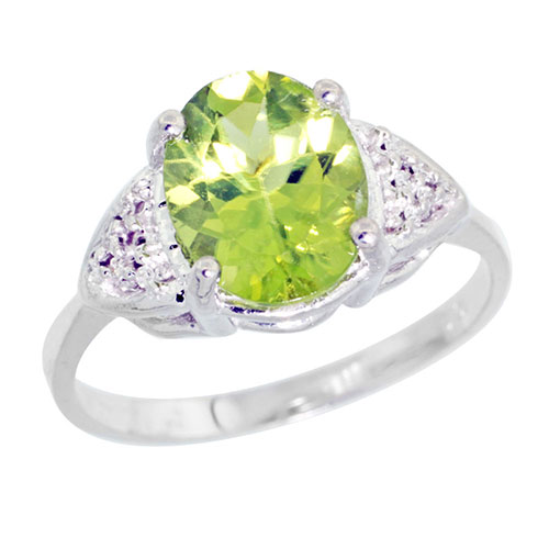 10k White Gold Diamond Natural Peridot Ring Oval 10x8mm, sizes 5-10 #15356v3