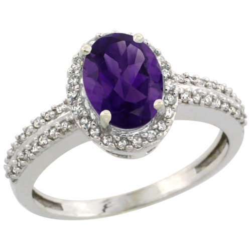 10k White Gold Natural Amethyst Ring Oval 8x6mm Diamond Halo, sizes 5-10 #15555v3