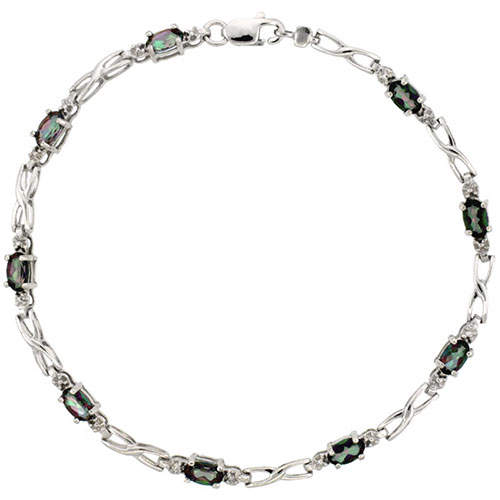10k White Gold XOXO Hugs & Kisses Tennis Bracelet 0.05 ct Diamonds & 2.25 ct Oval Mystic Topaz, 1/8 inch wide #15400v3