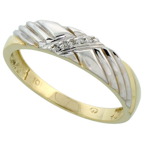 10k Yellow Gold Mens Diamond Wedding Band Ring 0.05 cttw Brilliant Cut, 3/16 inch 5mm wide #15450v3