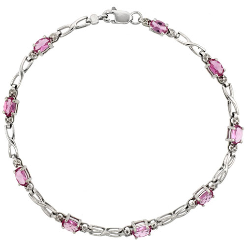 10k White Gold XOXO Hugs & Kisses Tennis Bracelet 0.05 ct Diamonds & 2.25 ct Oval Pink Topaz, 1/8 inch wide #15395v3