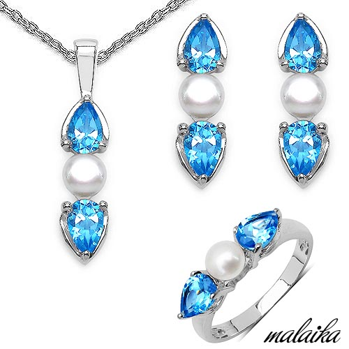 Pearl:Round/5.00mm 4/2.80 ctw + Sapphire Blue:Pear/6x4mm 8/4.80 ctw #33574v3
