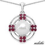 Pearl:Round 1/4.00 ctw + Ruby:Round/2.50mm 16/1.95 ctw #28233v3