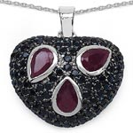 Ruby:Pear/6x4mm 3/1.85 ctw + Black Spinel:Round/1.50mm 99/1.80 ctw #28214v3