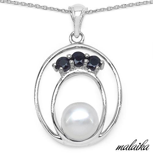 Pearl:Round 1/2.50ct + Sapphire Blue:Round/3.00mm 3/0.51 ctw #33564v3