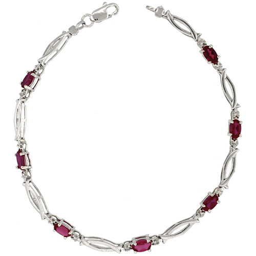 10k White Gold Christian Fish Tennis Bracelet 0.05 ct Diamonds & 1.75 ct Oval Created Ruby, 1/8 inch wide #15412v3