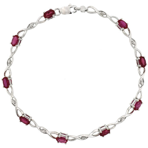 10k White Gold Braided Loop Tennis Bracelet 0.05 ct Diamonds & 2.25 ct Oval Created Ruby, 1/8 inch wide #15411v3