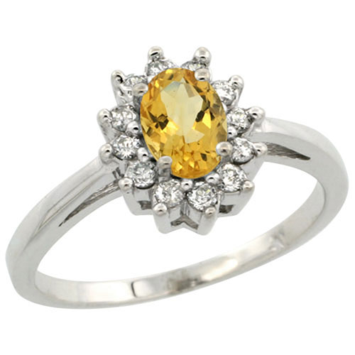 Sterling Silver Natural Citrine Diamond Flower Halo Ring Oval 6X4 mm, sizes 5-10 #15460v3
