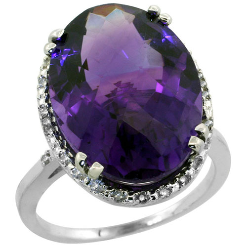 10k White Gold Natural Amethyst Ring Large Oval 18x13mm Diamond Halo, sizes 5-10 #15553v3
