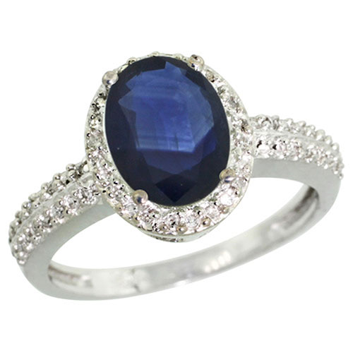 Sterling Silver Diamond Blue Sapphire Ring Oval 9x7 mm, sizes 5-10 #15458v3