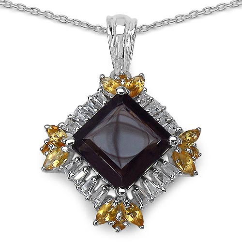 Topaz Smoky:Square/10.00mm 1/4.63 ctw + Citrine:Marquise/4x2mm 8/0.56 ctw + Citrine:Round/2.00mm 4/0.12 ctw + Topaz White:Baguette/2.50x1.50x1.10mm 16/0.96 ctw #33633v3