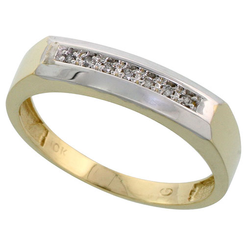 10k Yellow Gold Mens Diamond Wedding Band Ring 0.04 cttw Brilliant Cut, 3/16 inch 5mm wide #15444v3