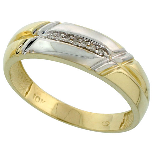 10k Yellow Gold Mens Diamond Wedding Band Ring 0.04 cttw Brilliant Cut, 3/16 inch 5mm wide #15440v3