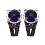 Amethyst:Briolite Round/8.00mm 2/3.26 ctw + Diamond Black:Round/1.10mm 28/0.02 ctw + Diamond White:Round/1.10mm 24/0.17 ctw #28512v3