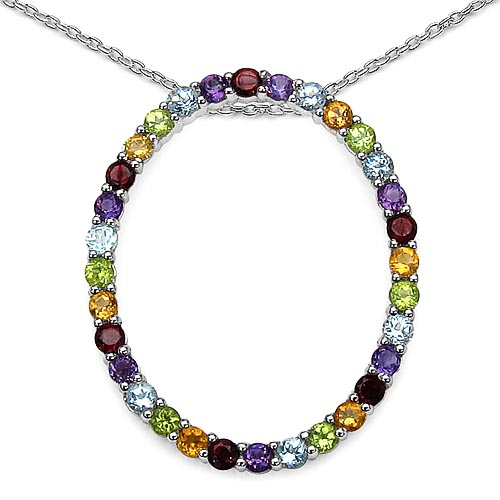 Amethyst:Round/2.70mm 7/0.53 ctw + Peridot:Round/2.70mm 6/0.45 ctw + Citrine:Round/2.70mm 6/0.45 ctw + Topaz Blue:Round/2.70mm 7/0.56 ctw + Garnet:Round/2.70mm 6/0.66 ctw #33620v3