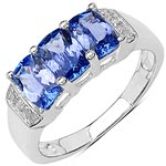 Tanzanite:Cushion/ 6x4mm 3/1.59 ctw + Diamond White:Round/ 1.00mm 8/0.05 ctw #28306v3