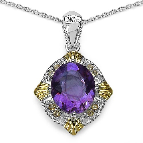 Amethyst:Oval/13x11mm 1/5.28 ctw + Citrine:Round/2.00mm 8/0.25 ctw + Diamond White:Round/0.90mm 1/0.01 ctw #29486v3