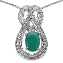 Emerald:Oval/6x4mm 1 /0.45 ctw + Diamond White:Round/1.10mm 4 /0.03 ctw + Diamond White:Round/1.00mm 6 /0.03 ctw #29759v3