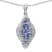 Tanzanite:Marquise/5x2.5mm 9/1.26 ctw + Diamond White:Round/1.00mm 6/0.03 ctw + Topaz Blue:Round/1.90mm 24/1.20 ctw #29715v3