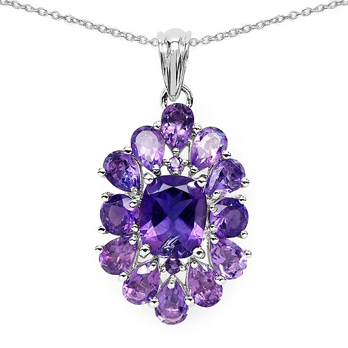 Amethyst:Cushion/10x8mm 1/2.60 ctw + Amethyst:Pear/6x4mm 10/4.00 ctw + Amethyst:Round/5.00mm 2/1.00 ctw + Amethyst:Round/1.50mm 2/0.04 ctw #29728v3