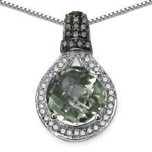 Amethyst Green:Round/10.00mm 1/3.75 ctw + Diamond Green:Round/1.10mm 8/0.06 ctw + Diamond White:Round/1.00mm 38/0.22 ctw #29481v3