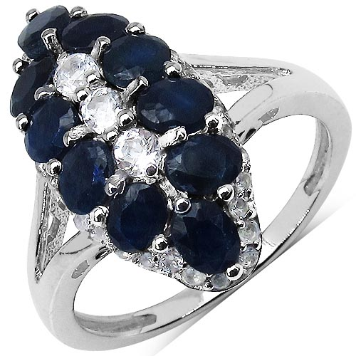 Sapphire Blue:Round/4.50mm 4/1.93 ctw + Black Spinel:Round/1.25mm 38/0.38 ctw #29598v3