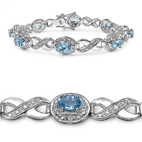 Diamond White:Round/1.30mm 12/0.13mm + Topaz Blue:Oval/6x4mm 8/5.20 ctw #27944v3