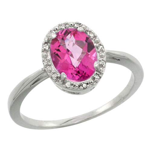 10K White Gold Natural Pink Topaz Diamond Halo Ring Oval 8X6mm, sizes 5-10 #16313v3
